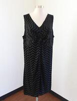 Lane Bryant Black Velvet Chevron Striped Gathered Sleeveless Dress Size 22 24