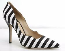 PAUL ANDREW Womens Black & White Striped Satin Pointed-Toe High Heel Pumps 9-39