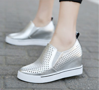Women Casual Hollow Wedge Heels Breathable Solid Sneakers Summer Sports Shoes Sz