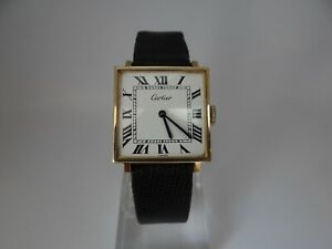 Cartier Square Manual Wind Gold Plated 28mm Vintage 1970's Rare
