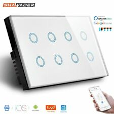 Smart Switch Wall Light Wifi Remote Works W/ Alexa 8 Gang Glass Panel 147*86mm