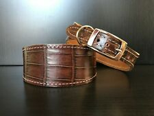 S/M Leather Dog Collar LINED Greyhound Whippet DARK BROWN REPTILE PATTERN