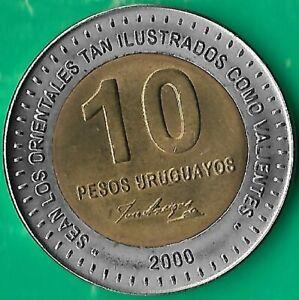 Uruguay.2000.10 pesos.150th. Anniversary of Artigas' death.bimetallic.UNC