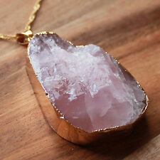 Gold Semi-Precious Natural Rose Quartz Rough Cut Teardrop Gemstone Pendant