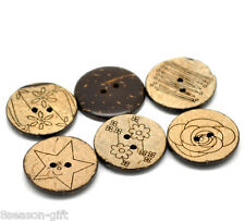 "1149 20 SMALL BROWN 2-hole Coconut Shell Buttons 3//8/"" 10mm scrapbook Craft"