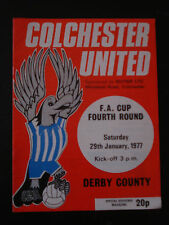 Colchester United v Derby County 1976/77 FA Cup 4th Rd Football Programme
