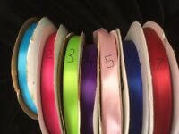 """Wholesale Satin Ribbon single face  100 Yards Roll  5/8"""" lime red royal purple"""