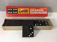 Dragon Wood Dominoes Halsam Double Six Vintage Game Set of 23 Dominoes
