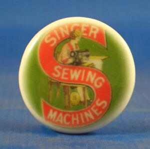 Birchcroft China Button -  Vintage Singer Logo - One Inch Size ( 25 mm )