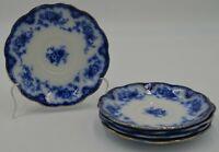 Antique W H Grindley Flow Blue w/ Gold Rim Gilt England China Set of 5 Saucers