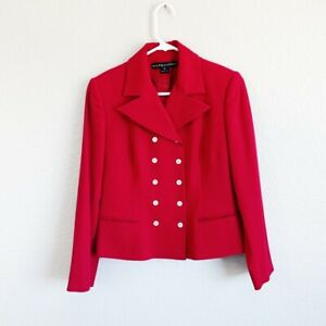 Ralph Lauren Black Label Collection Red Wool Italy Lined Women's Size 8 Classic
