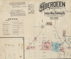 Aberdeen, Mississippi~Sanborn Map© sheets with 20 maps ~1885, 1890, 1894