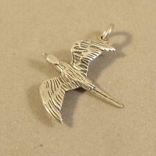 .925 Sterling Silver 3-D FLYING BIRD CHARM Pendant Sparrow Soaring NEW 925 BI54