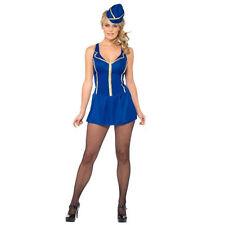 Linea Donna Costume Adulto CABIN CREW abito cappello blu partito una taglia unica