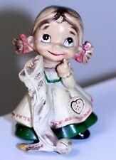 vintage Josef Originals Wee folks Little Girl figurine knitting sock orig label