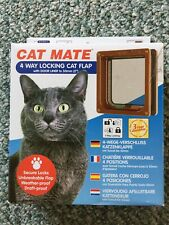 Cat Mate 4 Way Locking Cat Flap With Door Liner 235B Brown - New