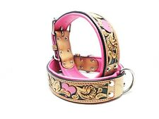 Small Tooled Pink Heart Bully MadcoW Dog Collar Western Floral K9 Style Leather