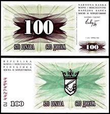 Bosnia Herzegovina 100 DINARA 1.7.1992 P 13 UNC