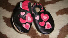 ROBEEZ 0-6 BLACK PINK HEARTS LEATHER BABY SHOES