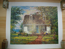 2 Wayne Morrell signed prints: Sunlit Lily Pond and Seaside Cottage