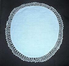 """VINTAGE CENTRINO di lino in blu con bordo in pizzo chiacchierino 11"""""""