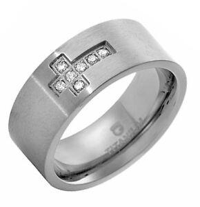 Pleasant Gentlemen's Titanium Ring With Genuine Clean Diamonds, Size 9 US. New