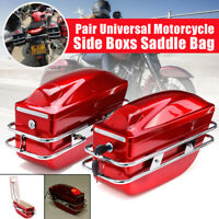 2x Universal Motorcycle Side Box Luggage Tank Hard Case Saddle Bag Rack