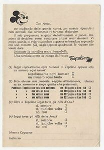 Walt Disney - referendum cartolina (1956) Stato ottimo - alleg. Topolino n. 140