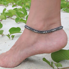 Chain Wide Bracelet 25cm 10 Jewelry Solid 925 Sterling Silver Boho Anklet Foot