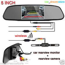 """5"""" TFT LCD Car Rear View Mirror Monitor+Wireless Night Vision Backup Camera Kit"""