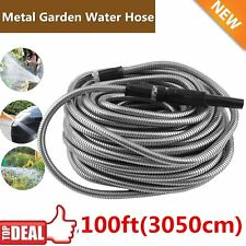 100 ft Flexible Stainless Steel Metal Garden Lightweight Water Hose Pipe New VIP