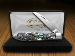 Case xx Tear Drop Gent Knife Genuine Abalone Stainless Pocket Knives 12016