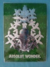 "ABSOLUT ""WONDER"" VODKA - SILVER SNOWFLAKE CHRISTMAS ORNAMENT  NIP  2003"