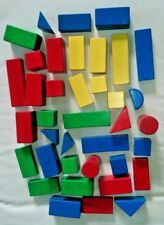 Multi coloured childrens wooden building blocks (38 in mixed shapes and sizes)