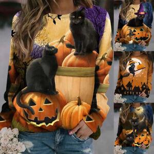 Womens Halloween Pumpkin & Cat Sweatshirts Pullover Hipster Jumper Hoodies Tops