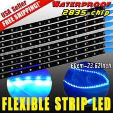 8X New Ultra Blue 60cm 2835 LED Car Motor Flexible Light Strip Bar Waterproof US