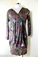 Vintage MISSONI Floral Long Sleeves Soft Rayon Wrap Dress 40 7 8