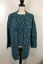 Dialogue 2 Piece Women Sweater And Open Cardigan Set Blue Multi-Colored
