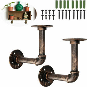 2X Pipe Shelf Brackets Industrial Iron Rustic Wall Floating Shelves Supports