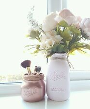 Painted Mason jars set of 2 - Pale Pink & Rose Gold - Perfect for Weddings/ Home