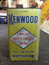 Vintage Kenwood 10W-30 All Season Motor Oil Metal 5 Quarts Can Gas Station Sign