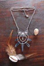 Gorgeous Handmade Silver Double Chain & Stone Tibetan Silver Pendant Necklace