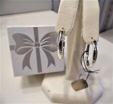 "Sterling Silver 1"" Omega Back Hoop Earrings by Silver Style ""Pierced"" NWT"