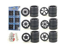 WHEELS & TIRES SET BLACK REPLACEMENT RIMS FOR 1/18 SCALE CARS AND TRUCKS 2004B