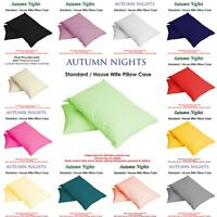 NEW - Single & Pair Of Plain Dyed Standard Pillow case/cover