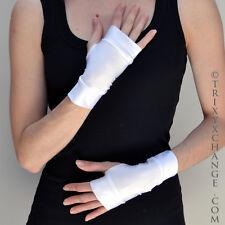 Short White Fingerless Gloves Vinyl Nylon Shiny Halloween Cosplay Costume Latex