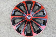 4 Alu-Design Radkappen 16 Zoll STRONG schwarz/rot passend für Nissan