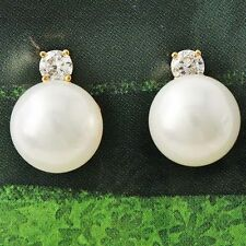 Yellow Gold Filled vintage earrings Fashion Womens Pearl crystal stud earrings