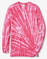 VICTORIA'S SECRET PINK LONG SLEEVE CAMPUS TEE TIE DYE SMALL T SHIRT TOP S TUNIC