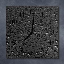 Glass Wall Clock Kitchen Clocks 30x30 cm silent Waterdrop Black